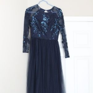 Chi Chi London blue floral maxi dress worn once